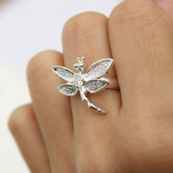 Silver Plated Dragonfly Animal Finger Ring Women Jewelry