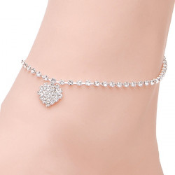 Silver Plated Heart Rhinestone Bridal Anklet Metal Chain
