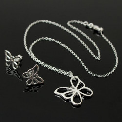 Silver Plated Hollow Butterfly Earrings Pendant Necklace Jewelry Set