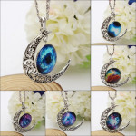 Silver Plated Moon Galactic Universe Glass Cabochon Pendant Necklace Women Jewelry