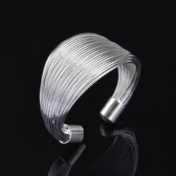 Silver Plated Multi Line Loops Open Finger Ring Men Women
