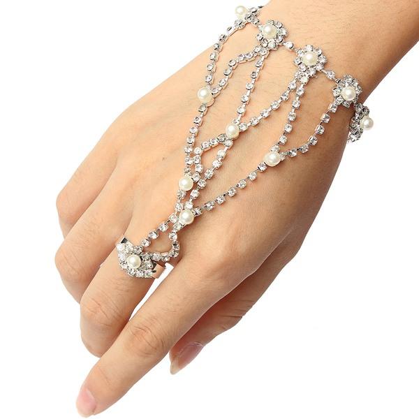 Silver Plated Pearl Rhinestone Ring Bracelet Metal Chain Bracelet Women Jewelry