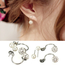 Silver Plated Rhinestone Ball Pearl Ear Stud Earrings For Women