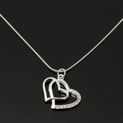 Silver Plated Rhinestone Double Hearts Snake Chain Pendant Necklace
