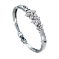 Silver Plated Rhinestone Flower Bangle Bracelet For Women