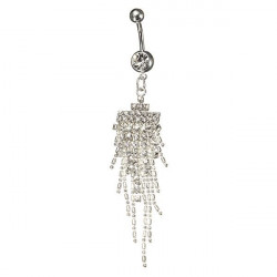 Silver Plated Rhinestone Tassel Dangle Navel Belly Ring Piercing