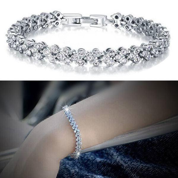 Silver Plated Roman Zircon Full Rhinestone Chain Bracelet For Women Fine Jewelry