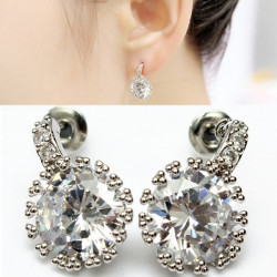 Silver Plated Round Clear Crystal Zircon Earrings For Women