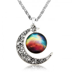 Silver Plated Time Gem Moon Galactic Universe Pendant Necklace