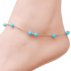 Silver Plated Turquoise Beads Anklet Bracelet Beach Anklet For Women