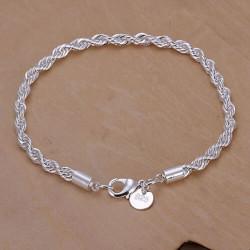 Silver Plated Twisted Bracelet Metal Buckle Chain Bracelet