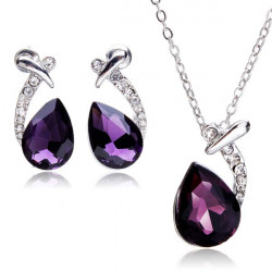 Silver Plated Water Drop Crystal Necklace Earrings Jewelry Set