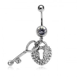 Silver Rhinestone Heart Key Lock Dangle Belly Ring Navel Ring Piercing