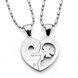 Silver Stainless Steel Lover I Love You Heart Key Pendant Necklace