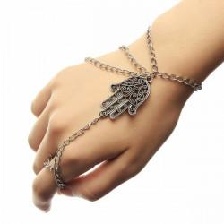 Silver Tassel Hamsa Fatima Hand Ring Chain Bracelet Unisex