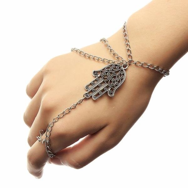 Silver Tassel Hamsa Fatima Hand Ring Chain Bracelet Unisex Women Jewelry