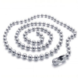 Silver Titanium Steel Ball Beads Chain Necklace Bead Connector