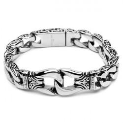 Silver Tone Mens 316L Stainless Steel Bracelet Vintage Jewelry