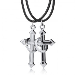 Skull Five Stars Cross PU Leather Clasp Rope Pendant Lover Necklaces