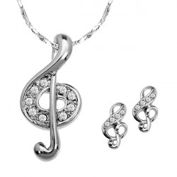 Sliver Plated Musical Note Rhinestone Jewelry Set Necklace Earrings