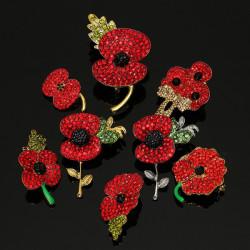 Sparkle Red Rhinestone Crystal Poppy Flower Brooch Pin