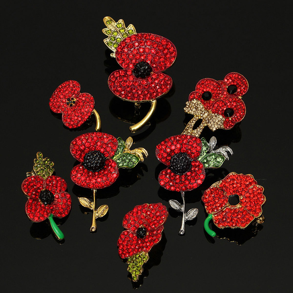 Sparkle Red Rhinestone Crystal Poppy Flower Brooch Pin Women Jewelry