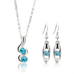 Spiral Crystal Rhinestone Jewelry Set Wedding Necklace Earrings