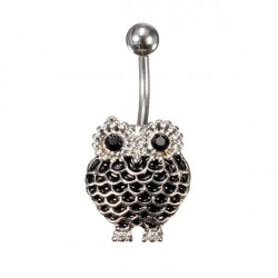 Stainless Steel Crystal Owl Navel Belly Button Ring Piercing Jewelry