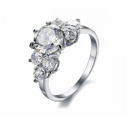 Stainless Steel Diamond Cubic Zirconia Crystal Ring For Women