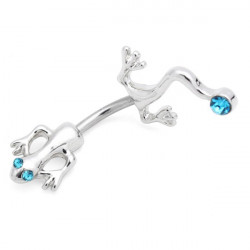 Stainless Steel Rhinestone Lizard Gecko Belly Navel Ring Piercing