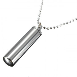 Stainless Steel Tube Pill Case Cylinder Pendant Necklace Long Chain
