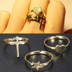 Star Heart Cross Knuckle Stacking Midi Mid Finger Rings Gold Plated