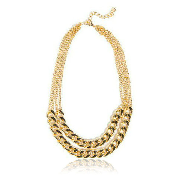 Summer Stylish Golden Thick Double Layer NK Chain Tassel Necklace Women Jewelry