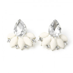 Sweet Alloy Rhinestone Flower Water Drop Stud Earrings For Women