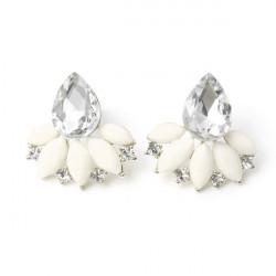 Sweet Alloy Rhinestone Flower Water Drop Stud Earrings For Women