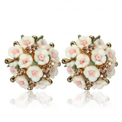 Sweet Ceramic Flower Rhinestone Stud Earrings Women Jewelry