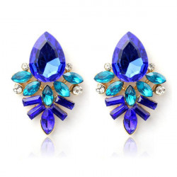 Sweet Crystal Rhinestone Leaf Water Drop Ear Stud Earrings For Women