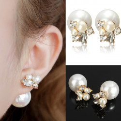 Sweet Pearl Rhinestone Double Sides Two Balls Stud Earrings Jewelry