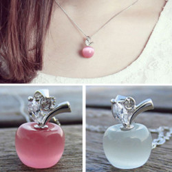 Sweet Pink Clear Rhinestone Opal Apple Pendant Necklace Silver Chain