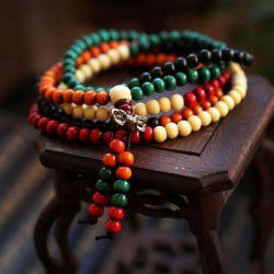 Tibetan Colorful Buddha Buddhist Prayer Beads Bracelet Multilayer