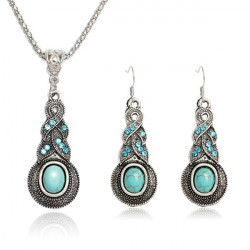 Tibetan Silver Crystal Turquoise Pendant Necklace Earrings Jewelry Set