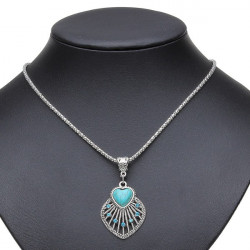 Tibetan Silver Plated Crystal Turquoise Hollow Heart Pendant Necklace