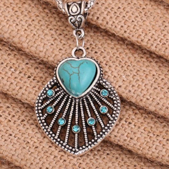 Tibetan Silver Plated Crystal Turquoise Hollow Heart Pendant Necklace 2021