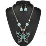 Tibetan Silver Turquoise Butterfly Necklace Earrings Jewelry Set