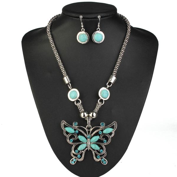 Tibetan Silver Turquoise Butterfly Necklace Earrings Jewelry Set Women Jewelry