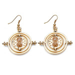 Time Turner Rotating Yellow Sand Hourglass Drop Earrings Gold Silver Women Jewelry