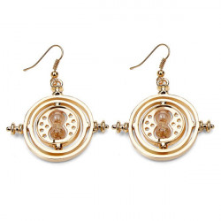Time Turner Rotating Yellow Sand Hourglass Drop Earrings Gold Silver