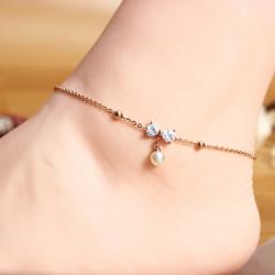 Titanium Steel Pearl Crystal Bowkont Anklet 18K Rose Gold Plated