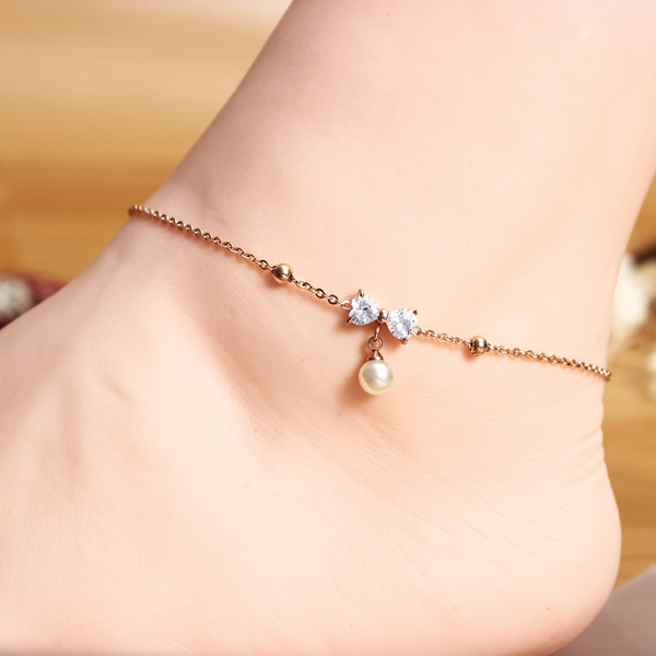 Titanium Steel Pearl Crystal Bowkont Anklet 18K Rose Gold Plated Women Jewelry
