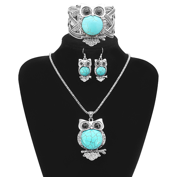 Turquoise Owl Necklace Earrings Bracelet Jewelry Set Vintage Women Jewelry